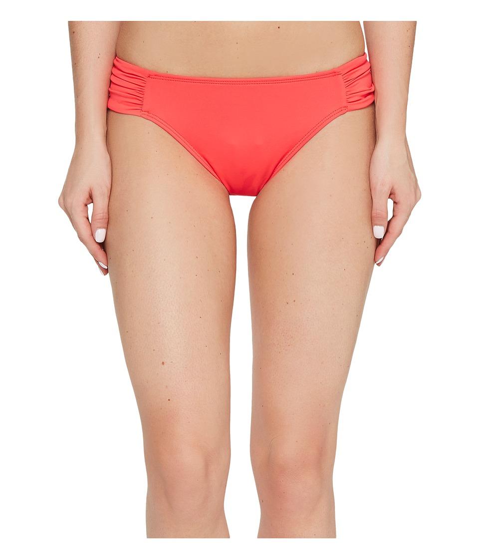 LAUREN Ralph Lauren - Beach Club Solids Shirred Side Tab Hipster Bottom (Neon Coral) Women's Swimwear