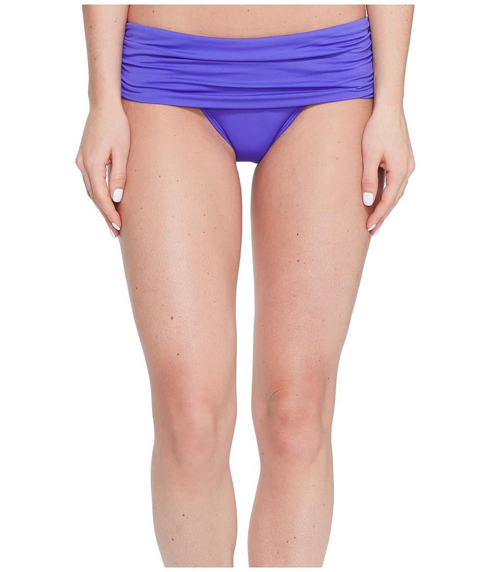 LAUREN Ralph Lauren - Beach Club Solids Wide Shirred Banded Hipster Bottom (Purple) Women's Swimwear
