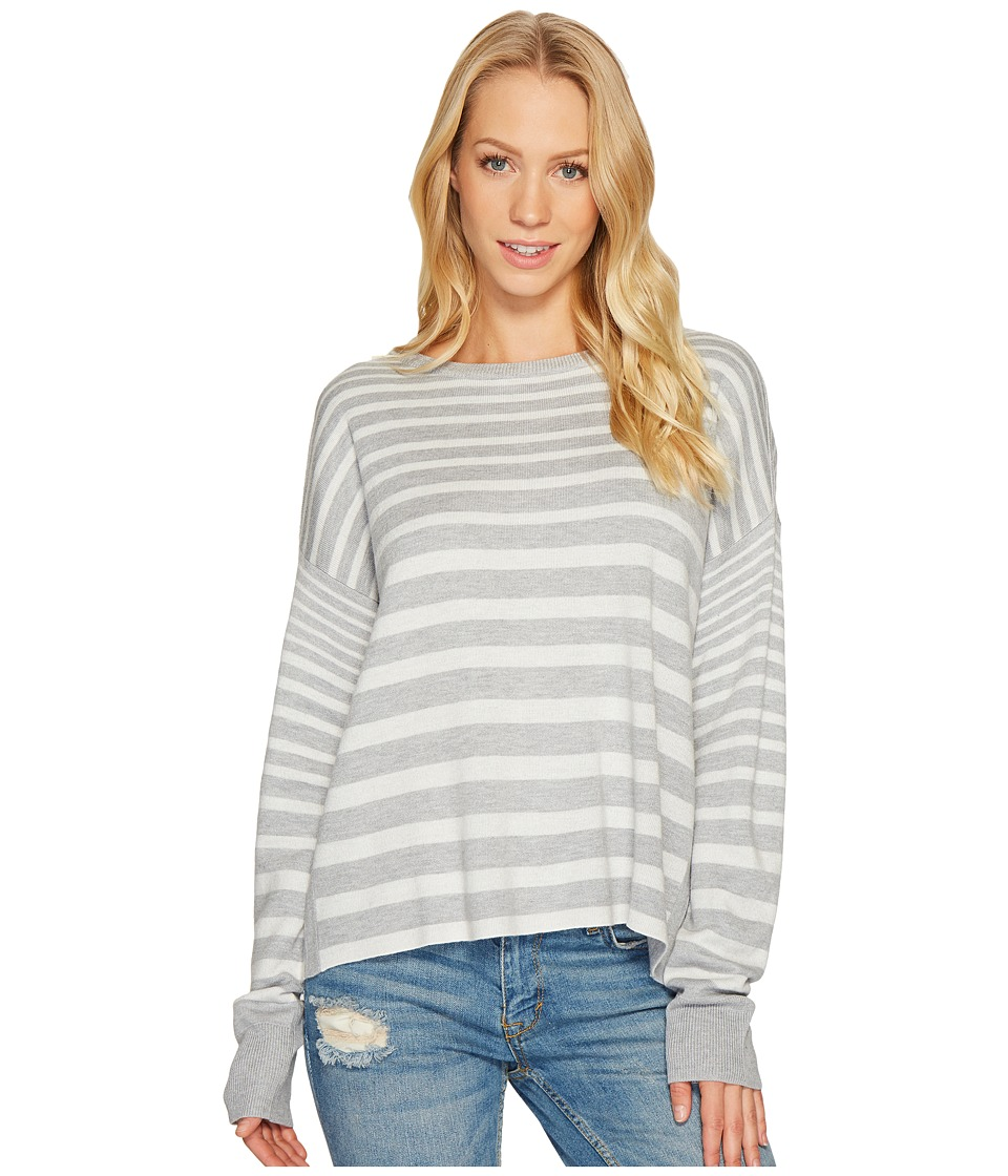 Splendid - Cross-Back Sweater (Light Heather Grey/Natural) Women's Sweater