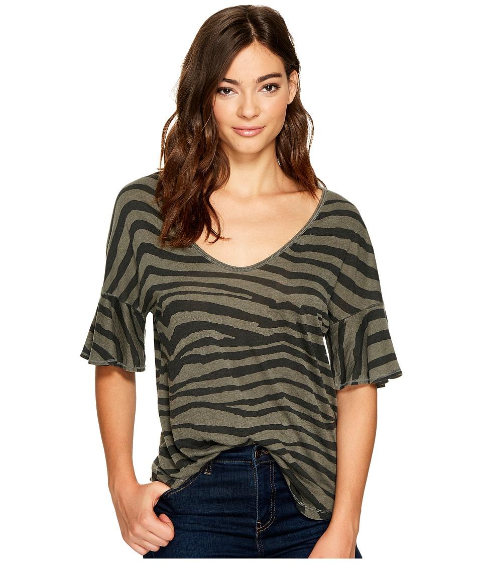 Splendid - Ruffle Sleeve Tee (Vintage Olivine) Women's T Shirt