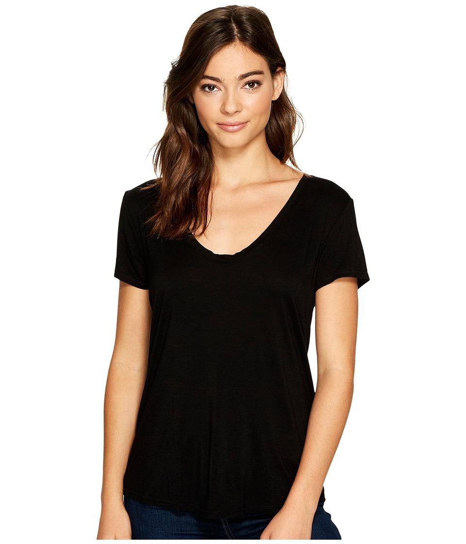Splendid - Deep U-Neck Top (Black) Women's Clothing