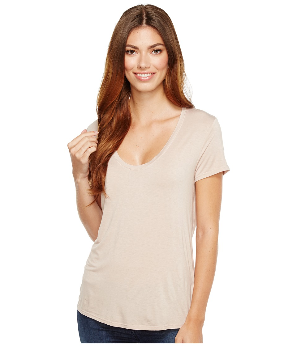 Splendid - Deep U-Neck Top (Pink Beige) Women's Clothing