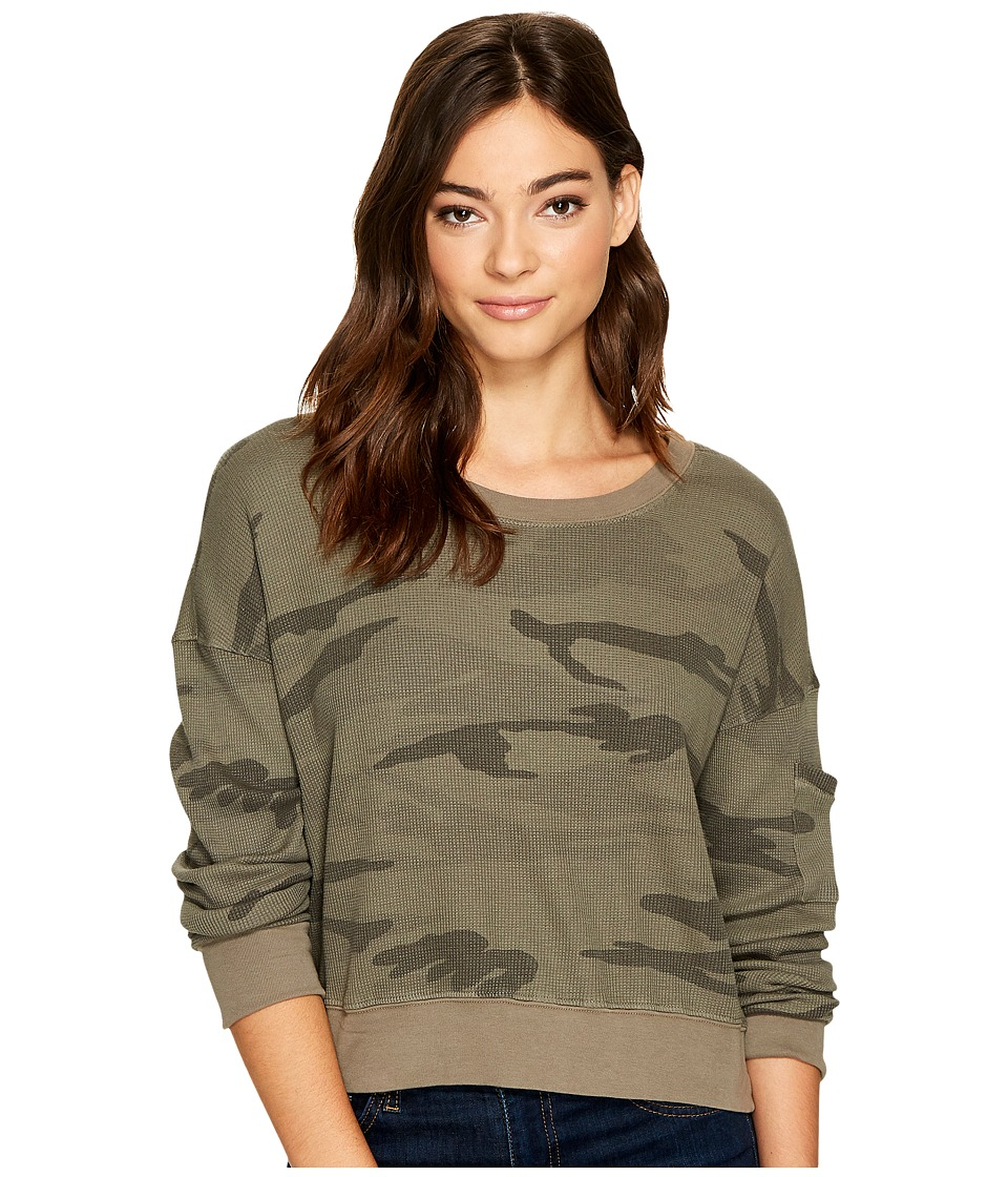 Splendid - Wedge Crop Top (Olive Branch) Women's Clothing