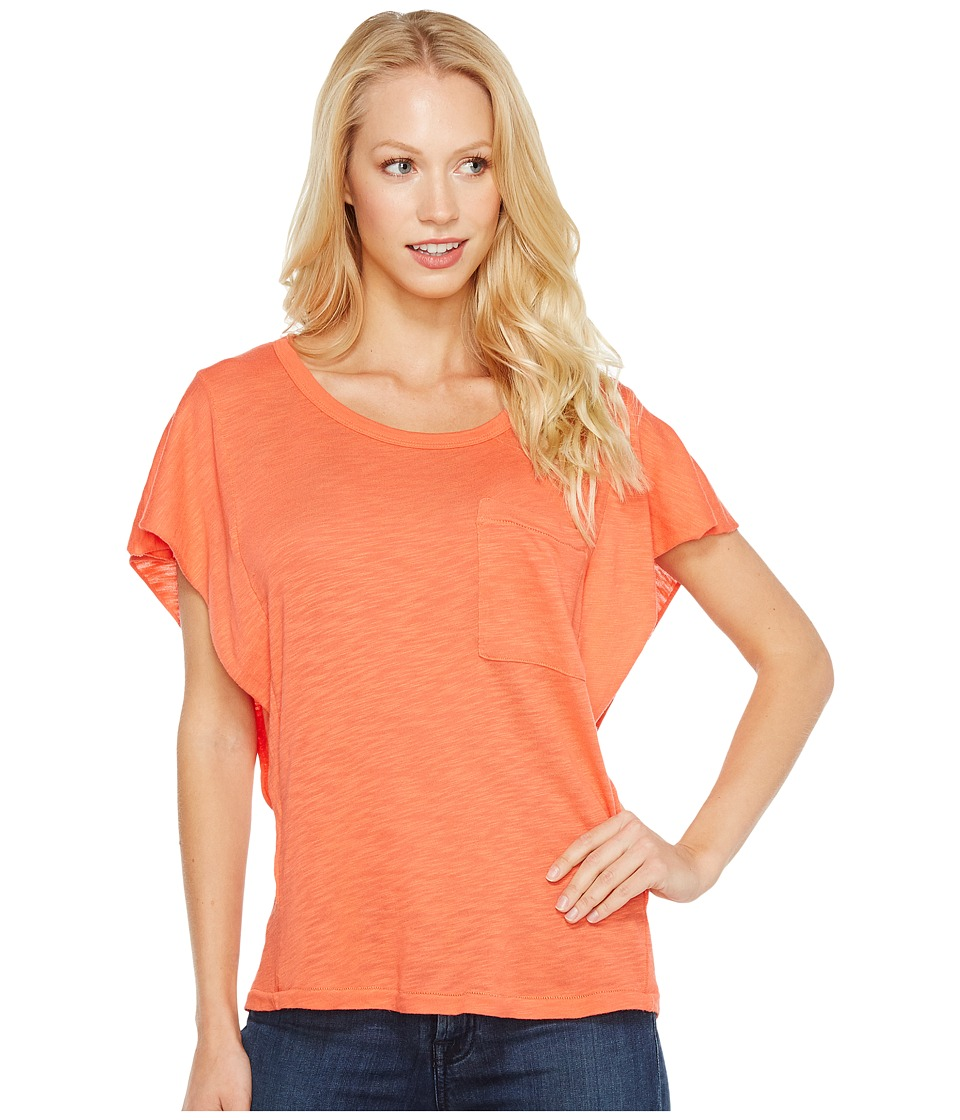 Splendid - Short Sleeve Ruffle Top (Bright Coral) Women's Clothing