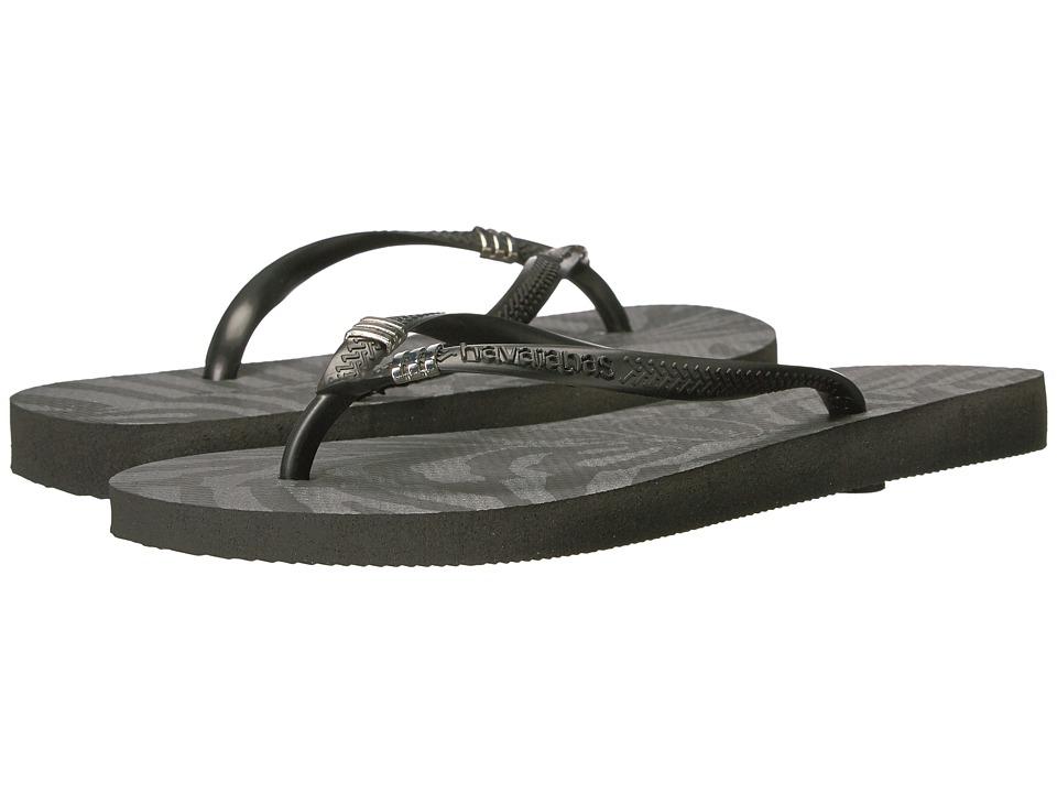 Havaianas - Slim Pin Tribal Sandal (Black/Silver) Women's Sandals