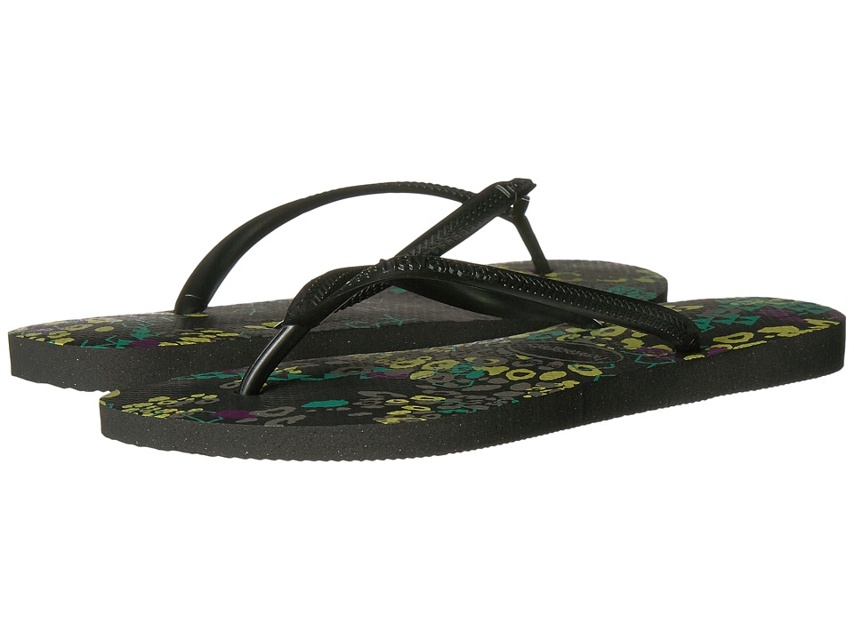 Havaianas Slim Abstract Sandal (Black) Women