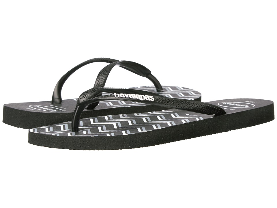 Havaianas Slim Zigzag Sandal (Black/White) Women