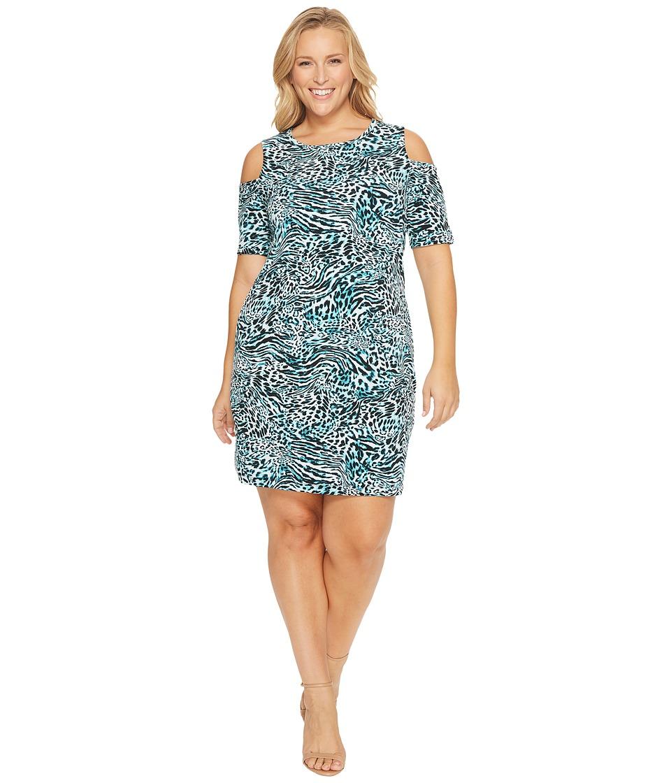 MICHAEL Michael Kors Plus Size Big Cat Cold Shoulder Knit Dress (Dark Peacock) Women