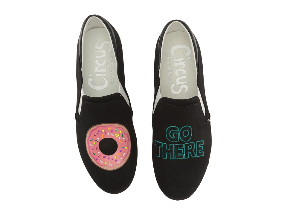 Circus by Sam Edelman - Charlie-22 (Black (Donut Go There) Canvas) Women's Slip on Shoes