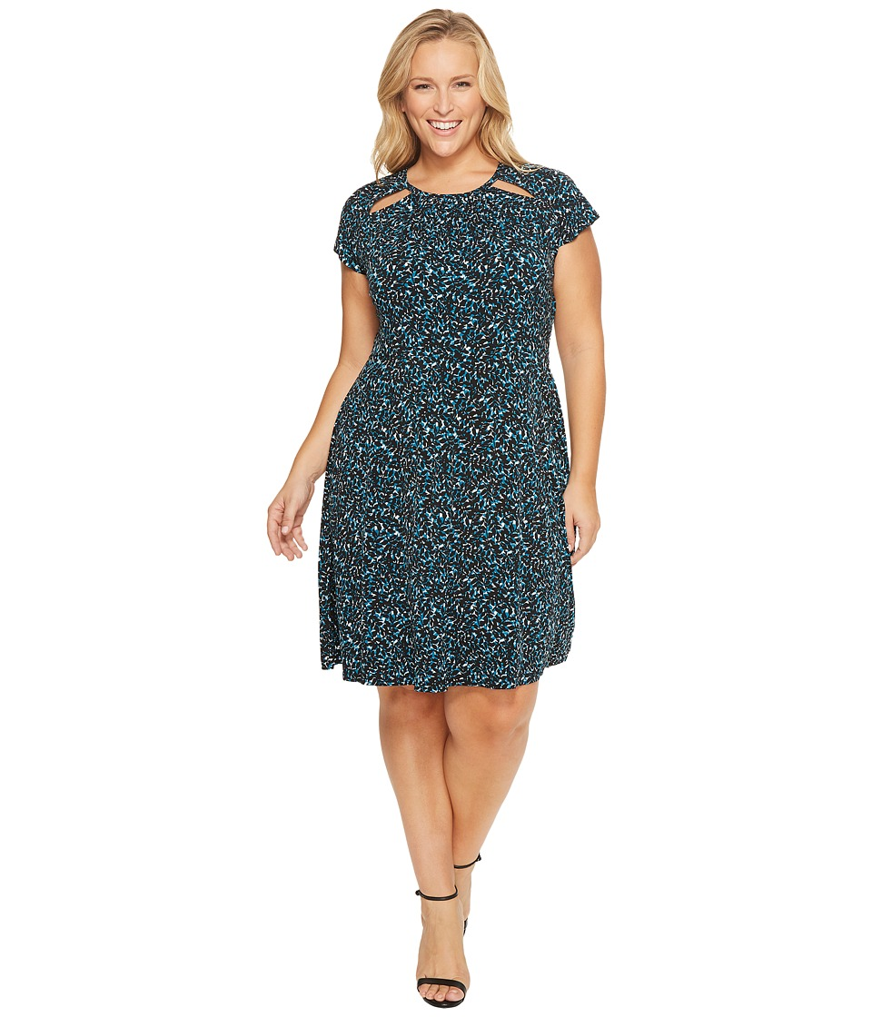 MICHAEL Michael Kors - Plus Size Layered Leaf Shirred Neck Dress (Deep Teal) Women's Dress