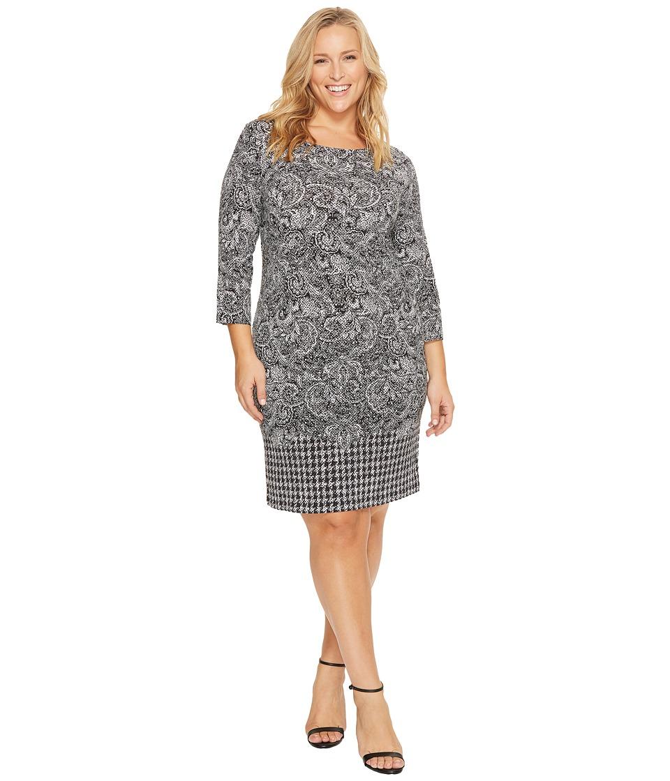 MICHAEL Michael Kors Plus Size Paisley Houndstooth Border Dress (Black) Women