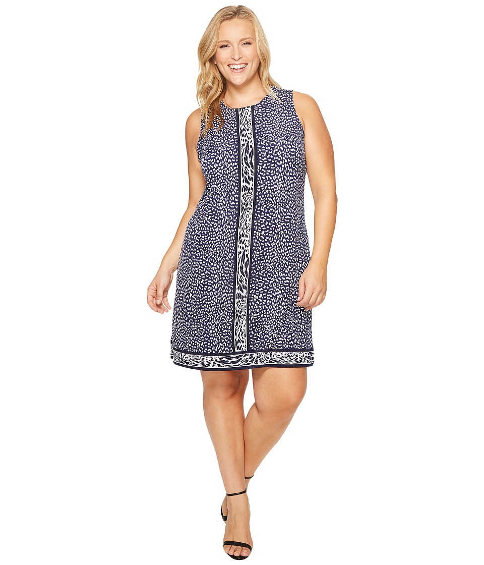 MICHAEL Michael Kors Plus Size Cheetah Sleeveless Border Dress (True Navy) Women