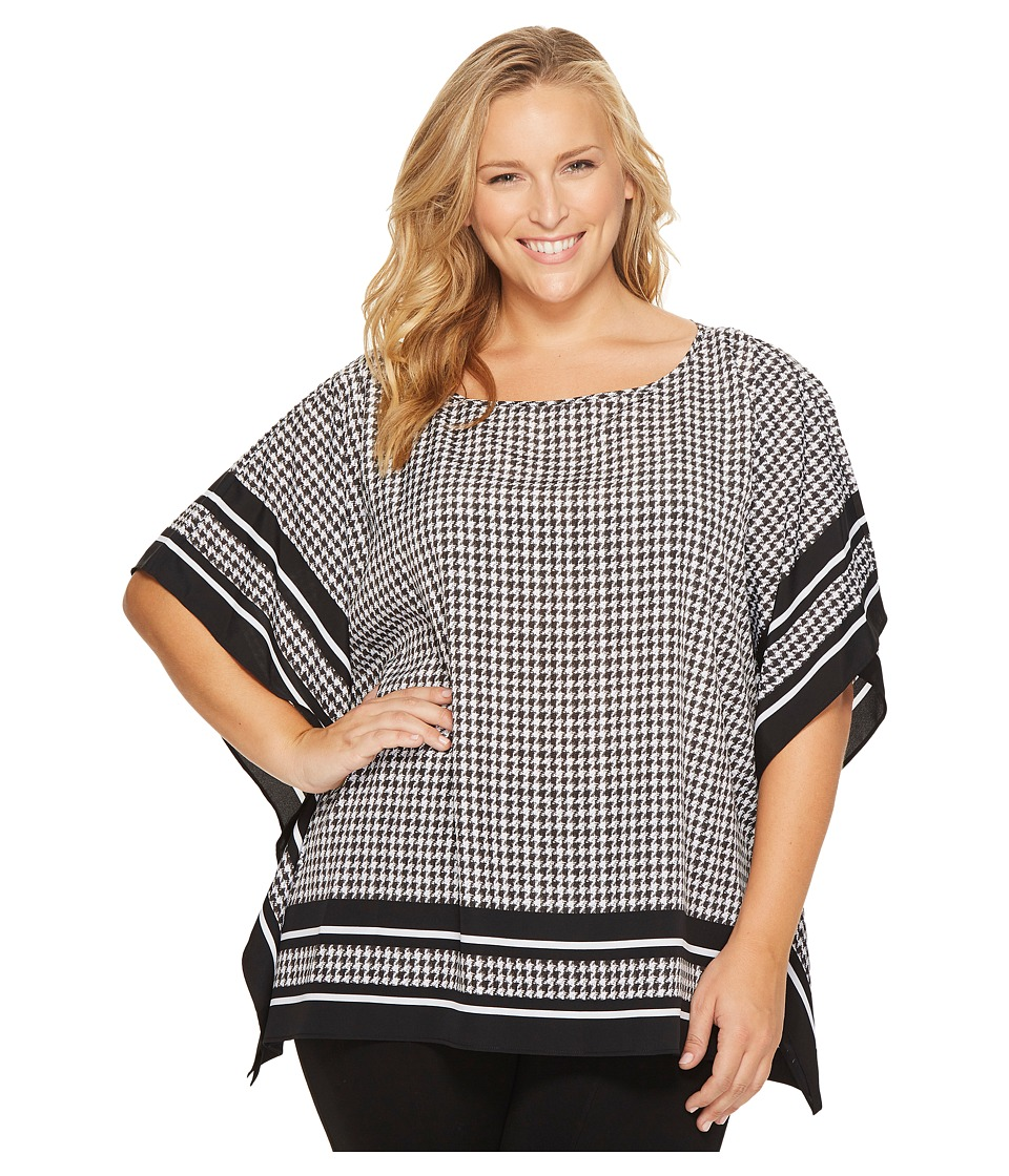 MICHAEL Michael Kors - Plus Size Houndstooth Border Top (Black) Women's Clothing