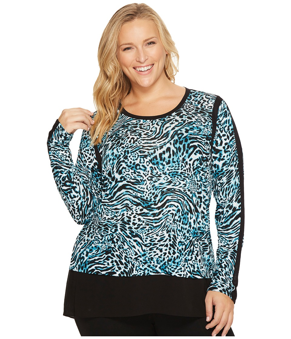 MICHAEL Michael Kors - Plus Size Big Cat Woven Combo Top (Dark Peacock) Women's Clothing