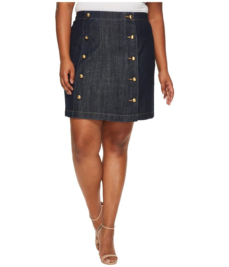 MICHAEL Michael Kors - Plus Size Button Detail Mini Skirt (Premiere Indigo) Women's Skirt