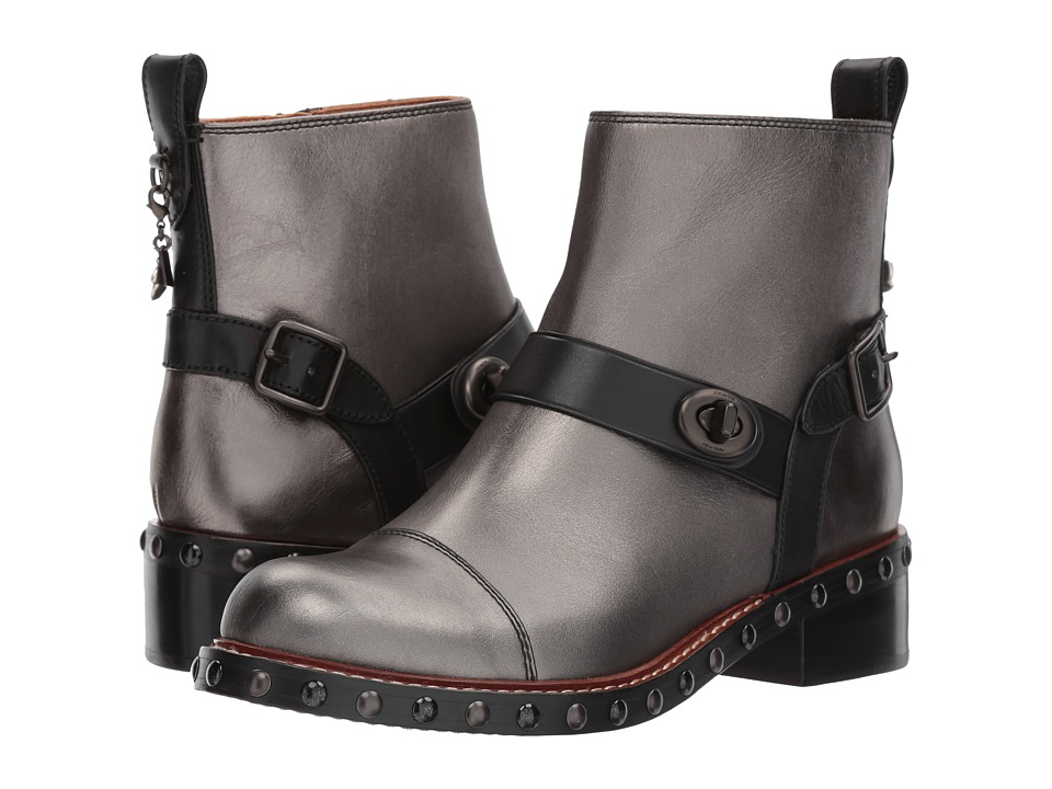 COACH - Moto Stud Bootie (Gunmetal/Black Metallic) Women's Dress Boots