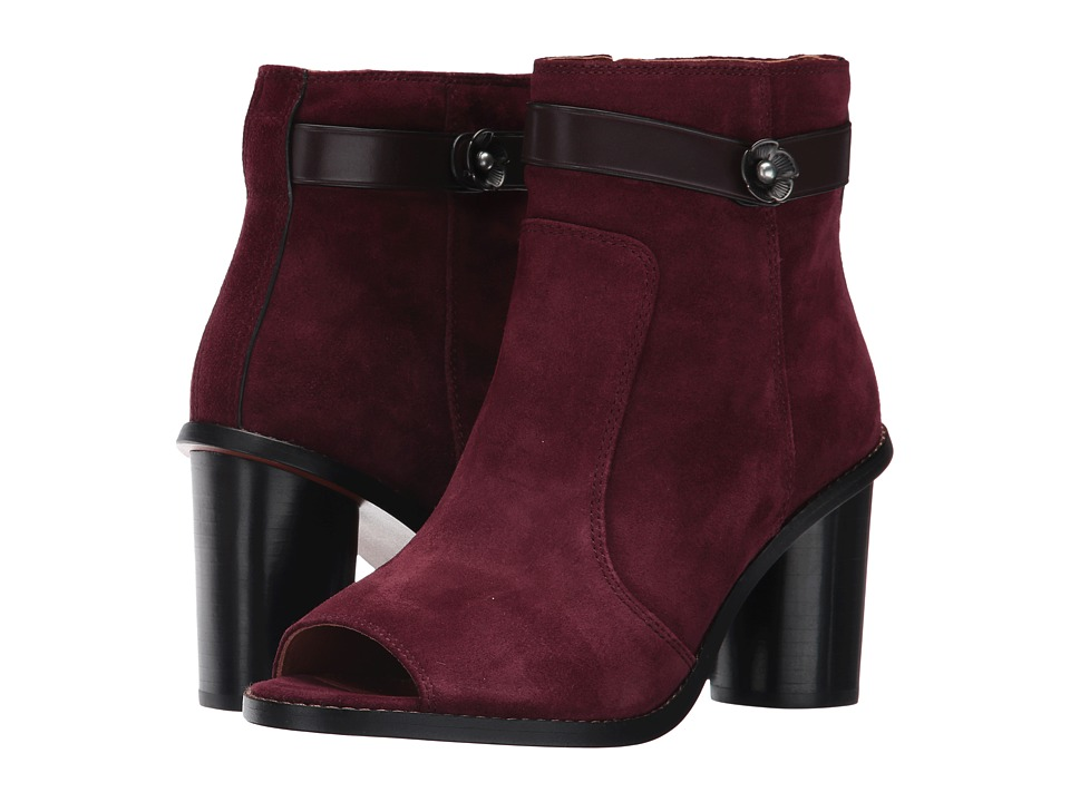 COACH - Moto Open Toe Bootie (Wine Suede) Women's Dress Boots
