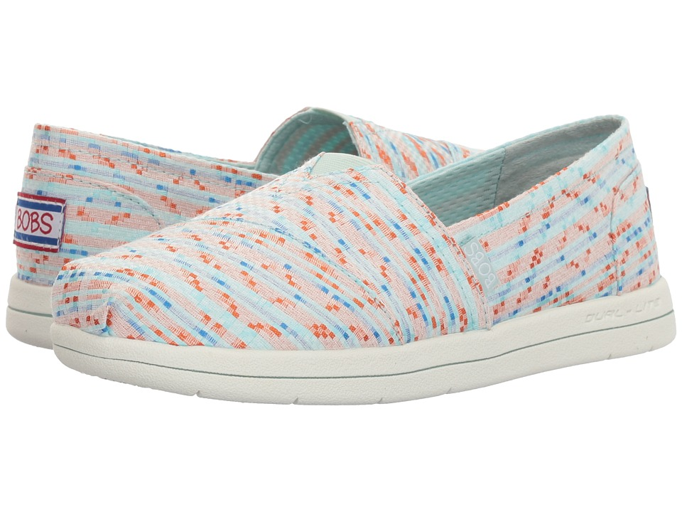 BOBS from SKECHERS - Super Plush - Mixed (White/Aqua) Women's Slip on Shoes
