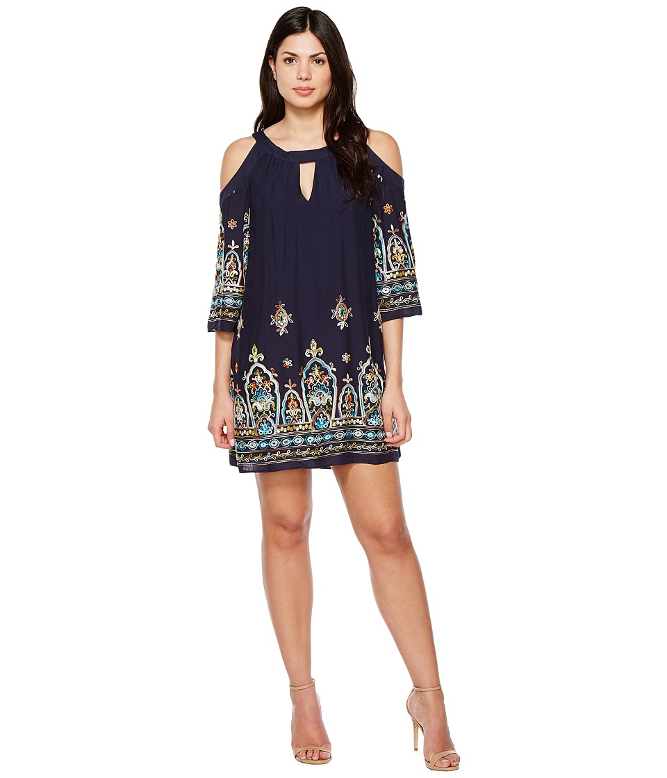 Sangria - Embroidered Cold Shoulder Shift (Dusk) Women's Dress