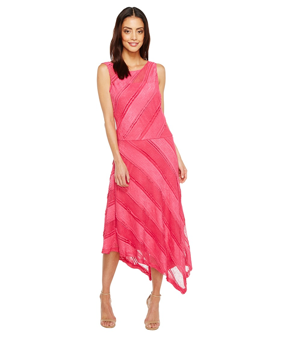 Sangria Sleeveless Textured Lace Asymmetrical Hem Fit and Flare (Magenta) Women