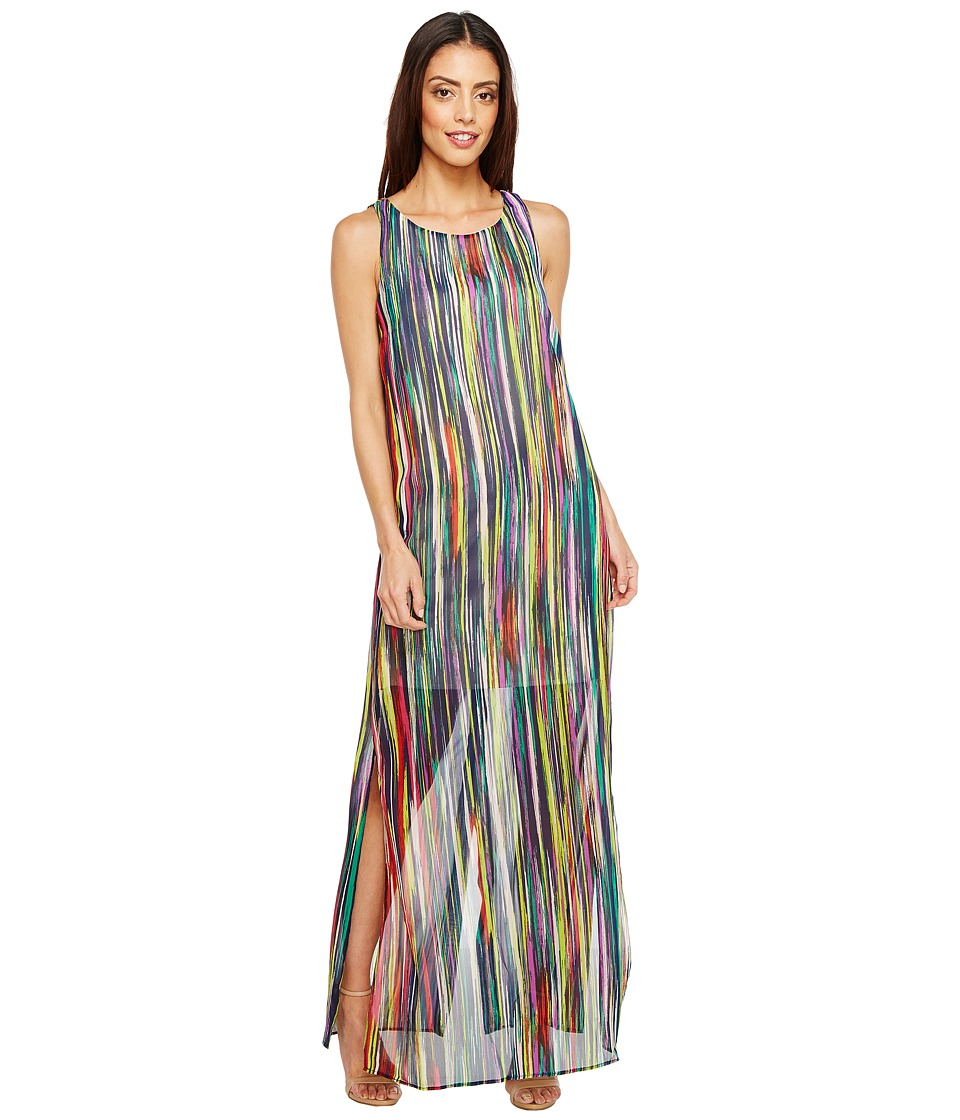 Sangria - Horizontal Stripe Midi with Side Slits (Multi) Women's Dress