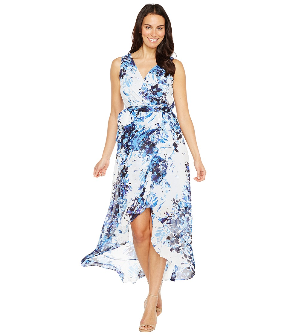 Sangria - V-Neck Floral Print Chiffon Maxi (Blue/Multi) Women's Dress