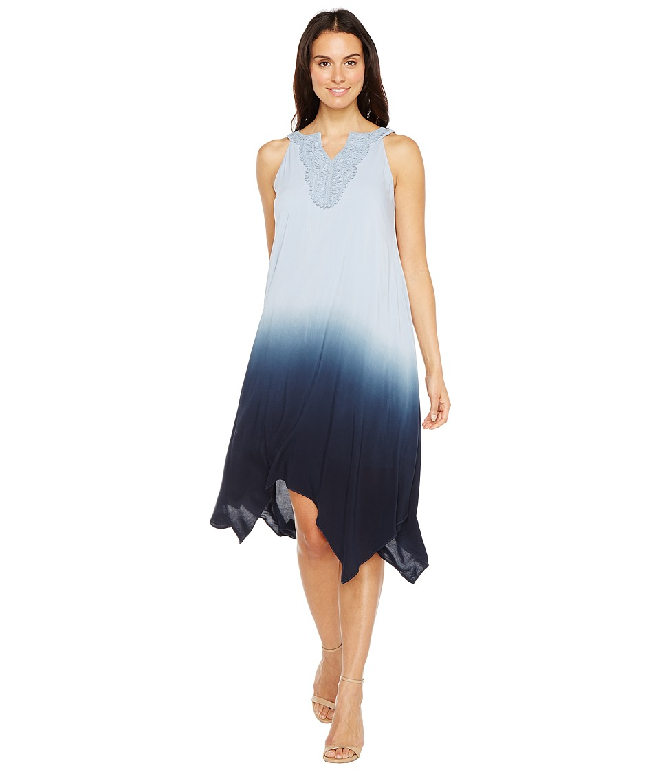 Sangria - Ombre Hankerchief Hem Shift with Crochet Neck Detail (Denim Blue) Women's Dress