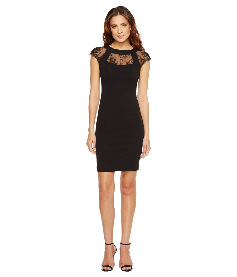 Sangria - Lace Shoulder Detail Sheath (Black) Women's Dress