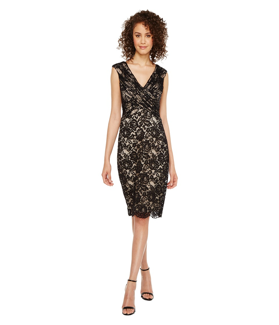 Sangria - V-Neck Sequined Lace Bodycon Sheath (Black/Putty) Women's Dress