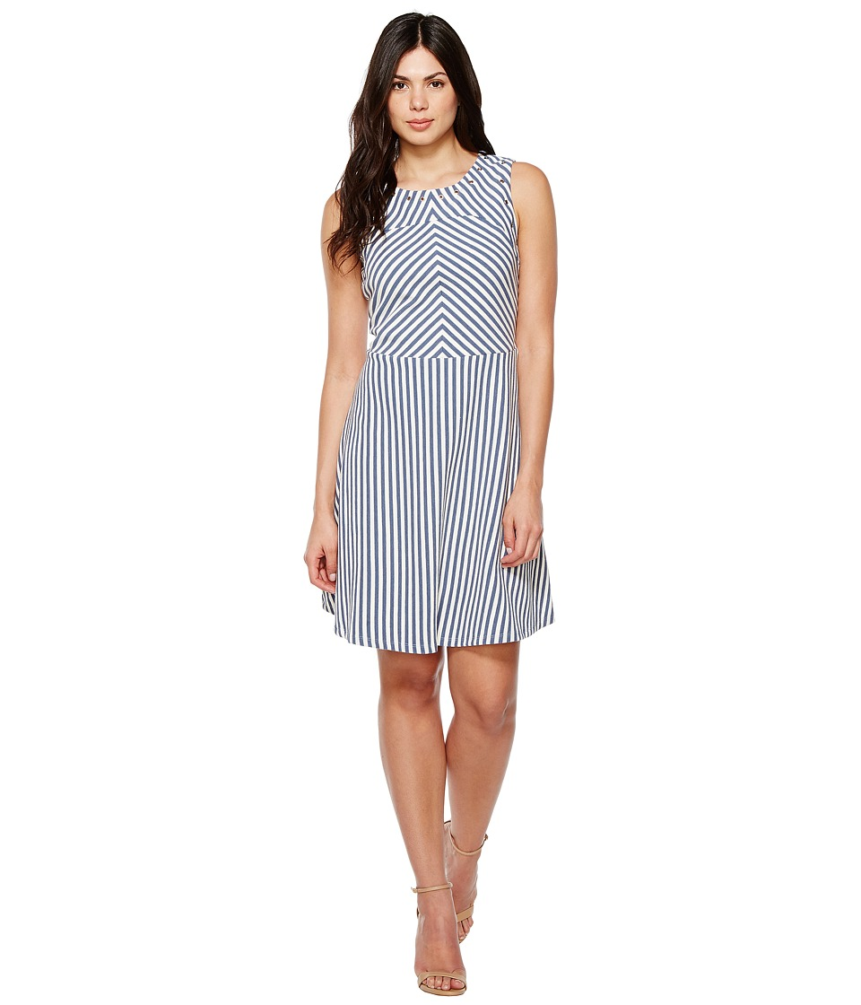 Sangria - Striped Fit and Flare with Grommet Detail (Navy/Ivory) Women's Dress
