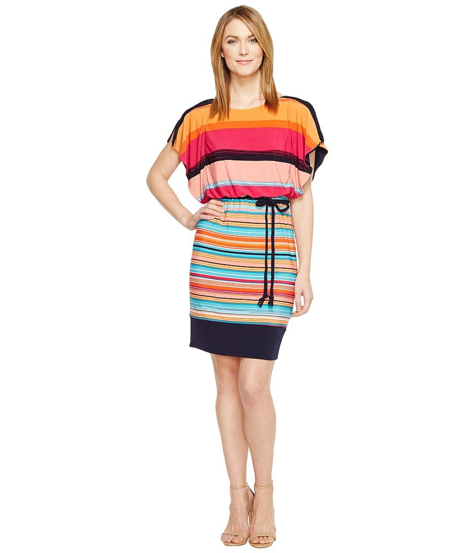 Sangria - Abtract Striped Blue Print Blouson Shift (Multi) Women's Dress