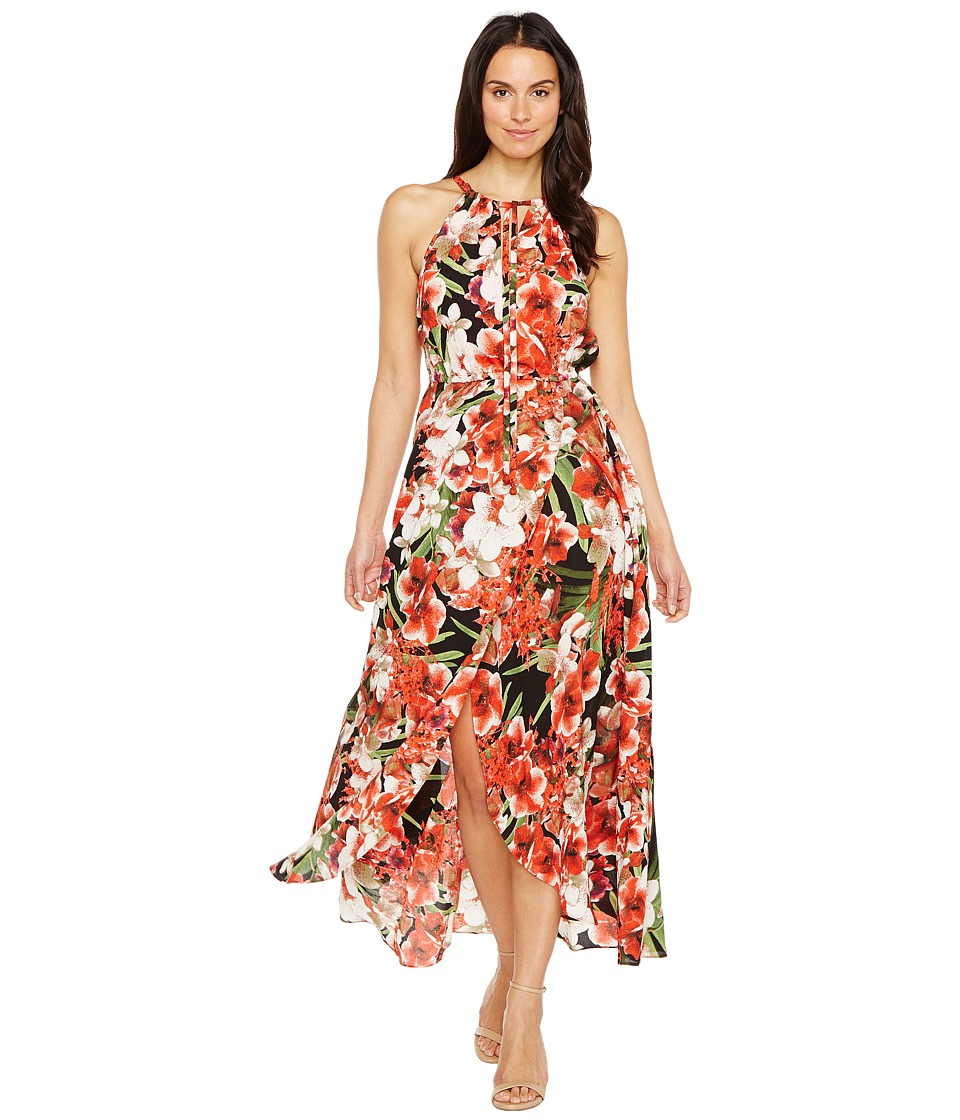 Sangria - Floral Print Keyhole Crinkle Maxi (Hot Red) Women's Dress