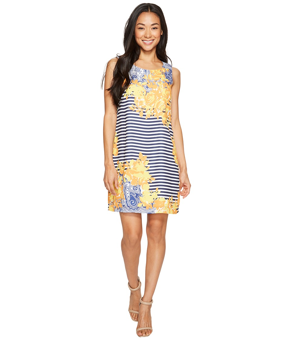Sangria - Petite Striped and Floral Print Shift (Multi) Women's Dress
