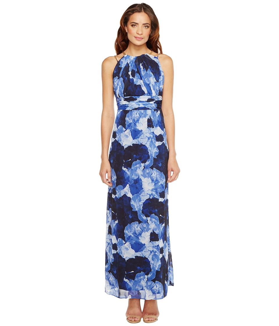 Sangria - Dark Floral Print Chiffon Maxi with Chain Strap Detail (Blue/Multi) Women's Dress
