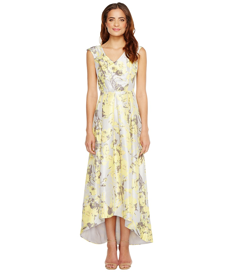 Sangria - V-Neck Floral Print Hi Low Hem Gown with Pockets (Multi) Women's Dress