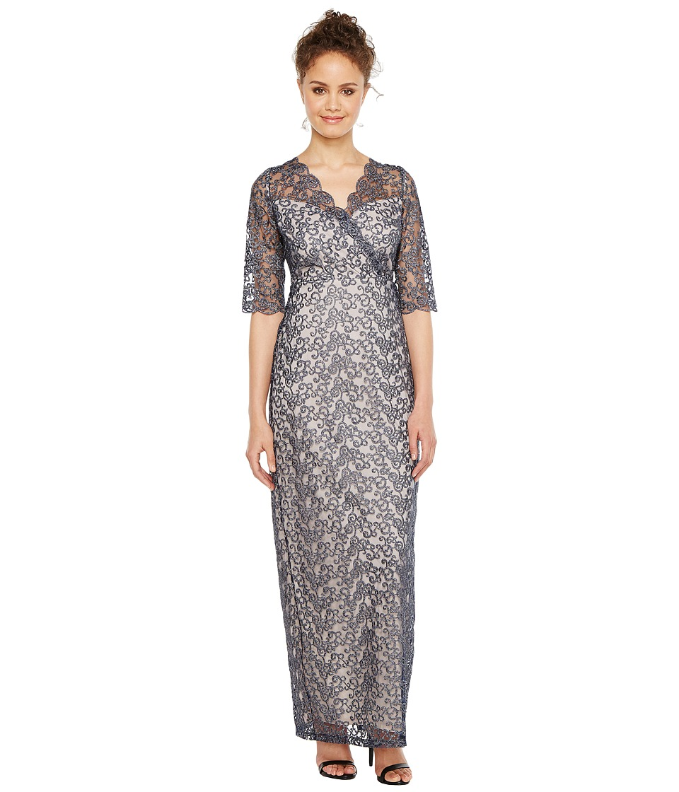 Sangria - 3/4 Sleeve Surplice Front Metallic Lace Column Gown (Navy/Soft Taupe) Women's Dress
