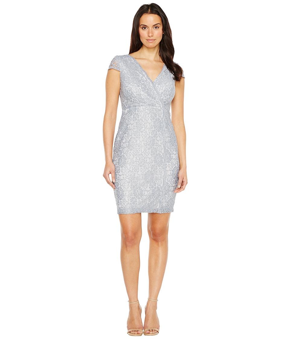 Sangria - Short Sleeve V-Neck Metallic Lace Sheath (Pewter) Women's Dress