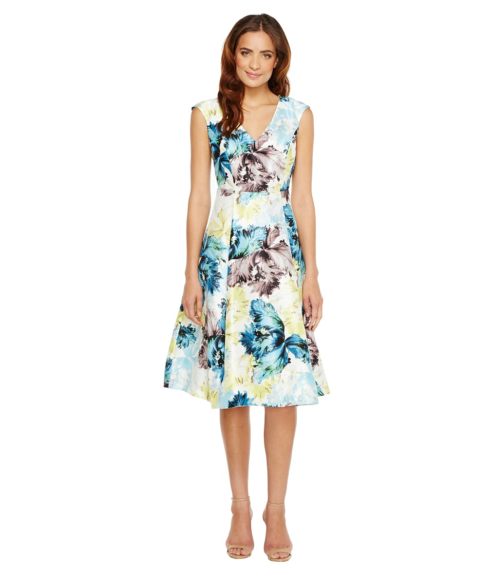 Sangria - Cap Sleeve V-Neck Floral Print Fit and Flare with Pockets (Blue/Multi) Women's Dress