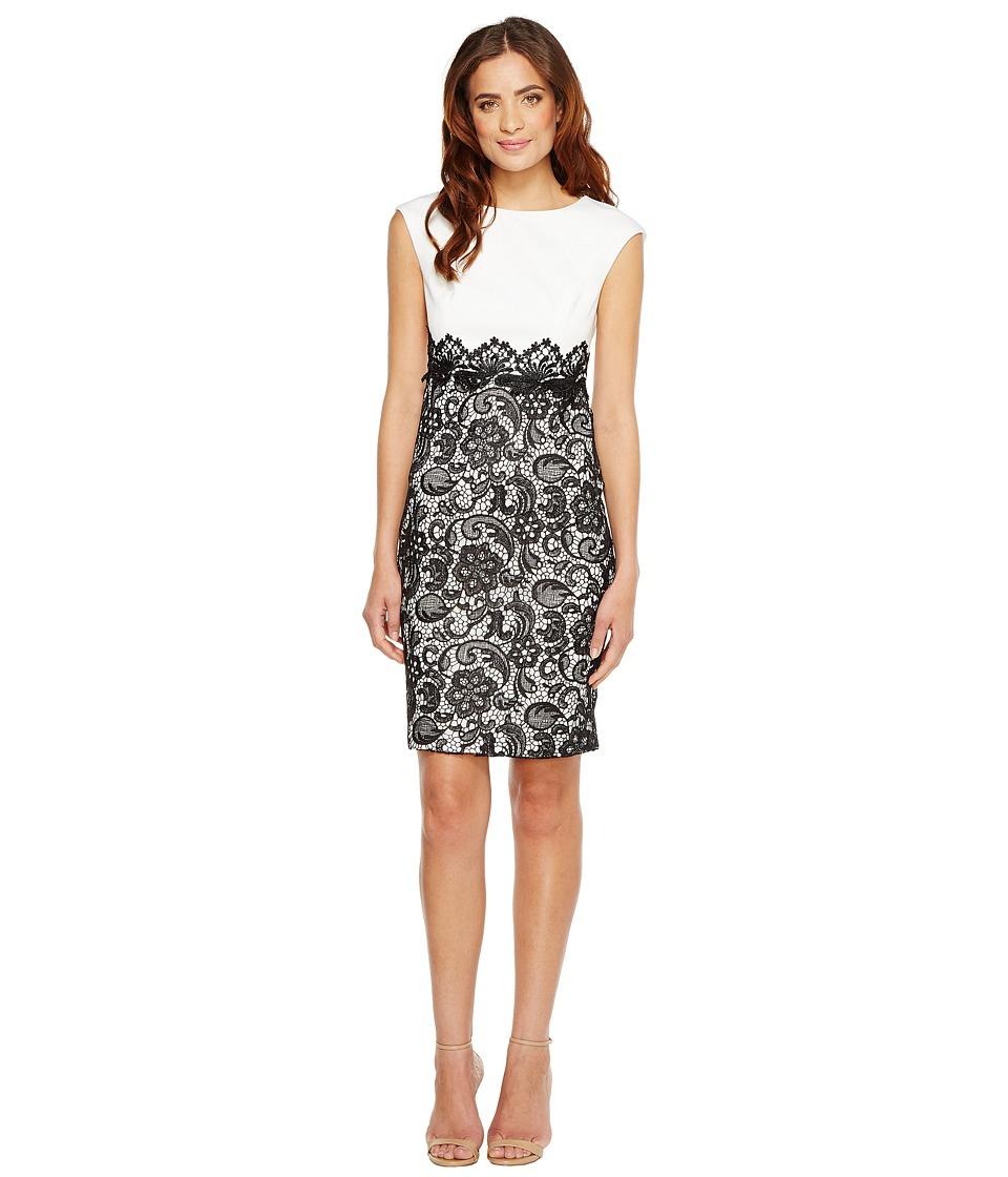 Sangria - Solid Bodice Lace Skirt Sheath (Black/Ivory) Women's Dress