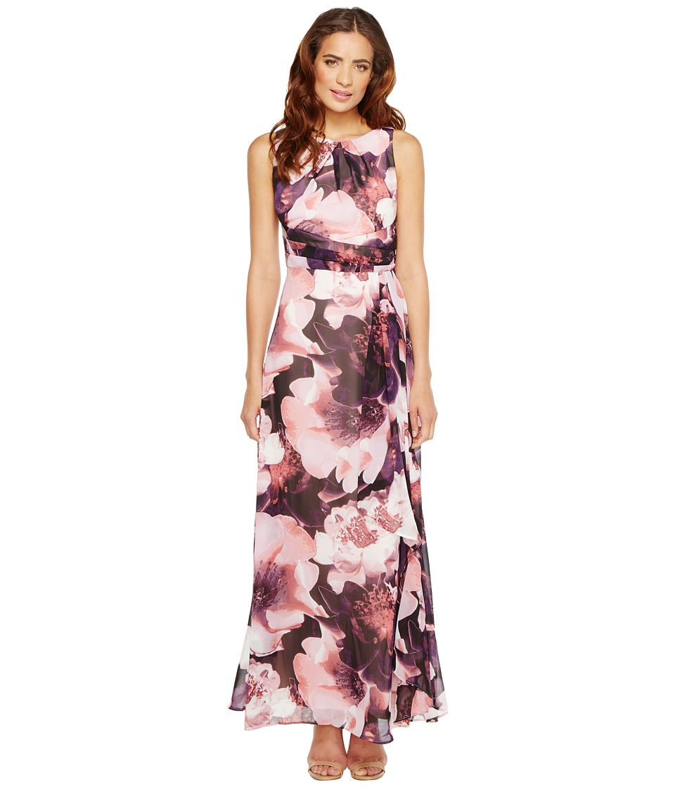 Sangria - Floral Print Chiffon Maxi (Multi) Women's Dress