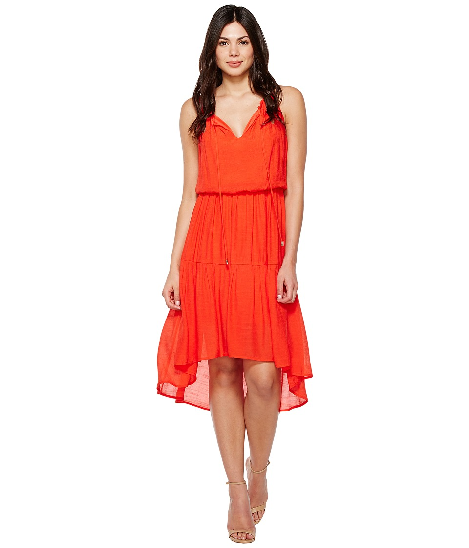 Sangria - Crinkle Fabric Hi Low Hem (Hot Red) Women's Dress