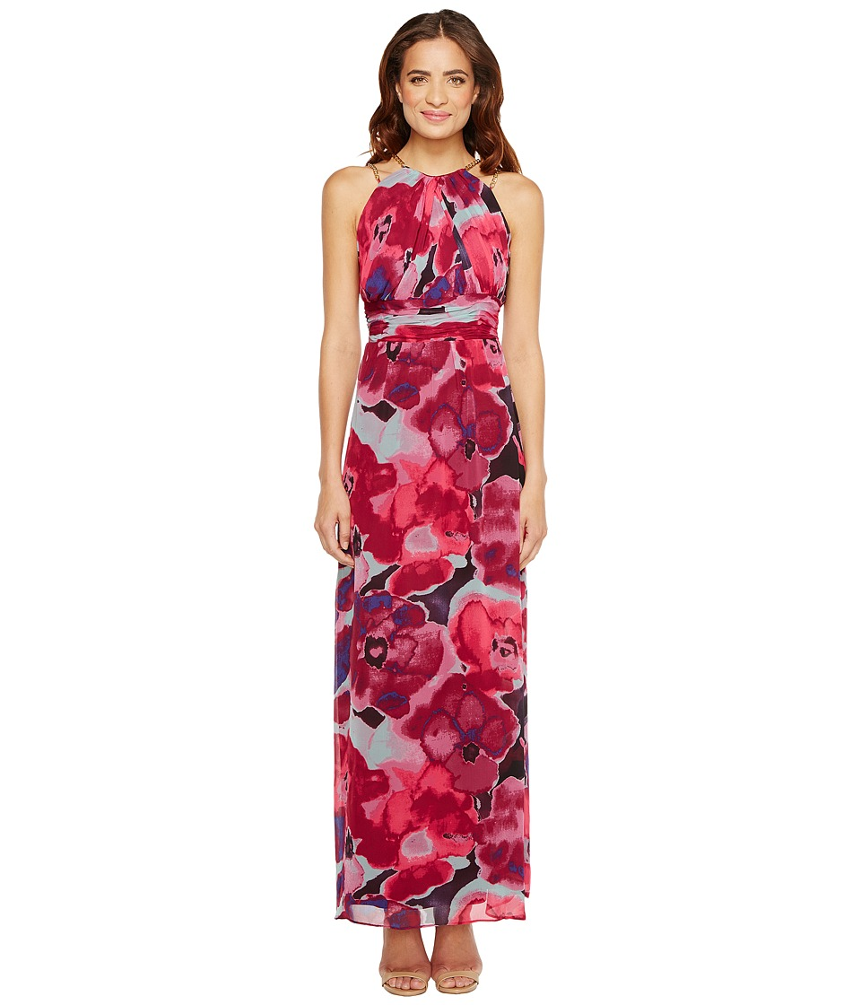 Sangria - Floral Print Chiffon Maxi with Chain Strap Detail (Multi) Women's Dress