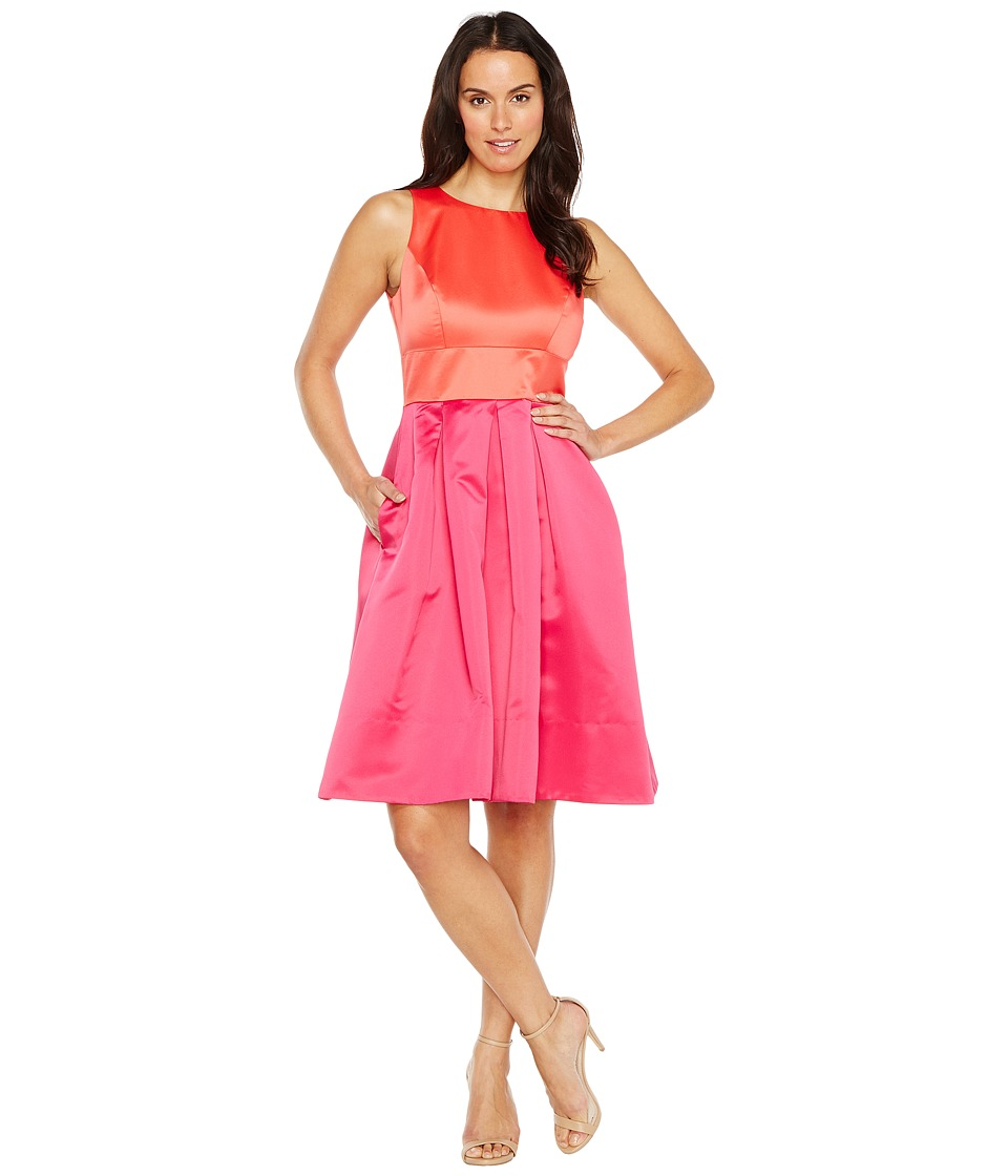 Sangria - Color Blocked Satin Fit and Flare with Pockets (Magenta Red) Women's Dress