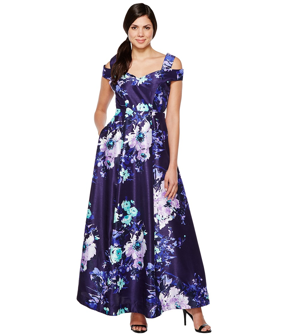 Sangria - Cold Shoulder Floral Print Evening Gown with Pockets (Multi) Women's Dress