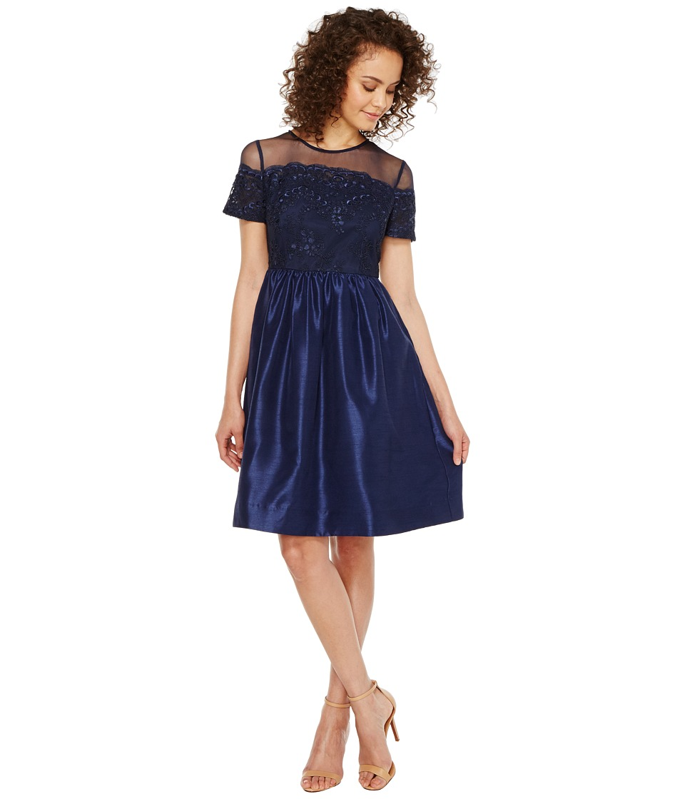 Sangria - Short Sleeve Mesh and Lace Fit and Flare with Pockets (Navy) Women's Dress