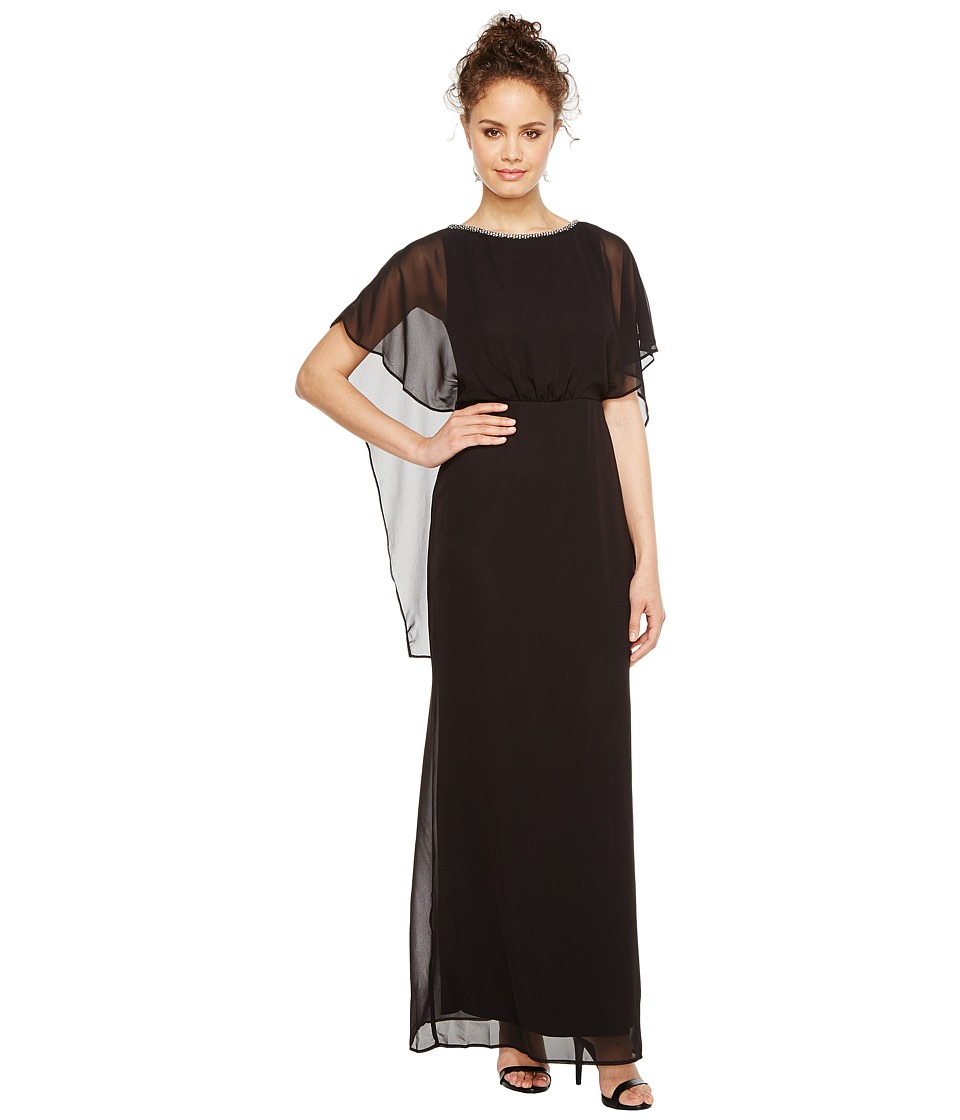 Sangria - Solid Capelet Column Gown with Embellished Neckline (Black/Putty) Women's Dress