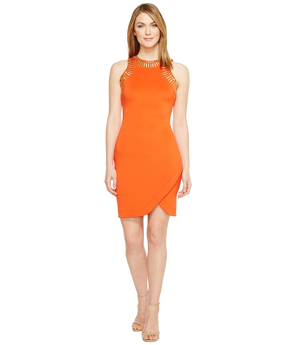 Sangria - Embellished Petal Hem Scuba Sheath (Fire Orange) Women's Dress