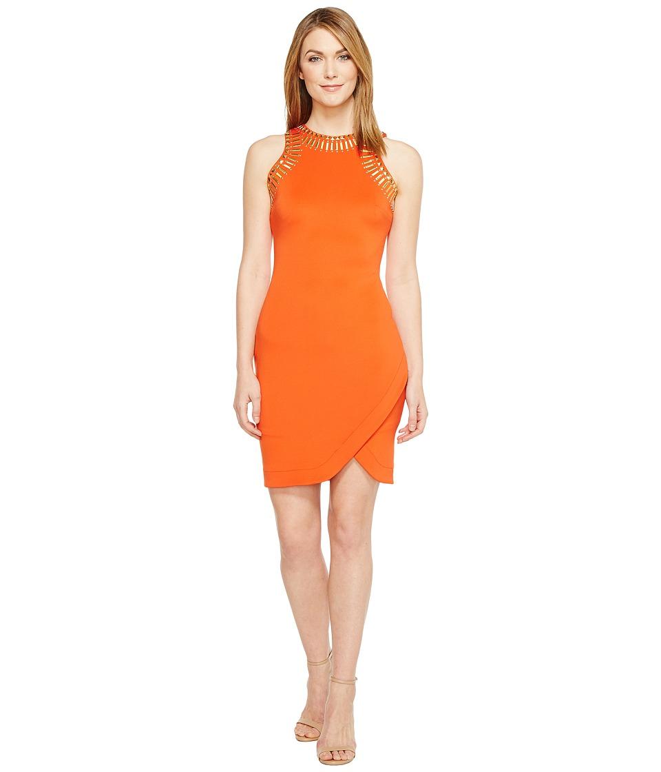 Sangria - Embellished Petal Hem Scuba Sheath (Fire Orange) Women's Dress
