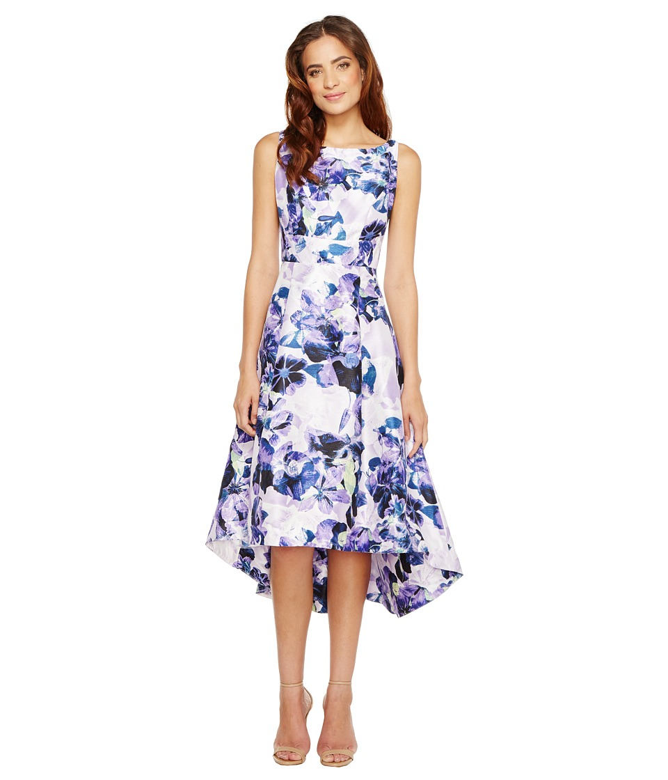 Sangria - Floral Print Hi Low Hem Fit and Flare with Pockets (Multi) Women's Dress