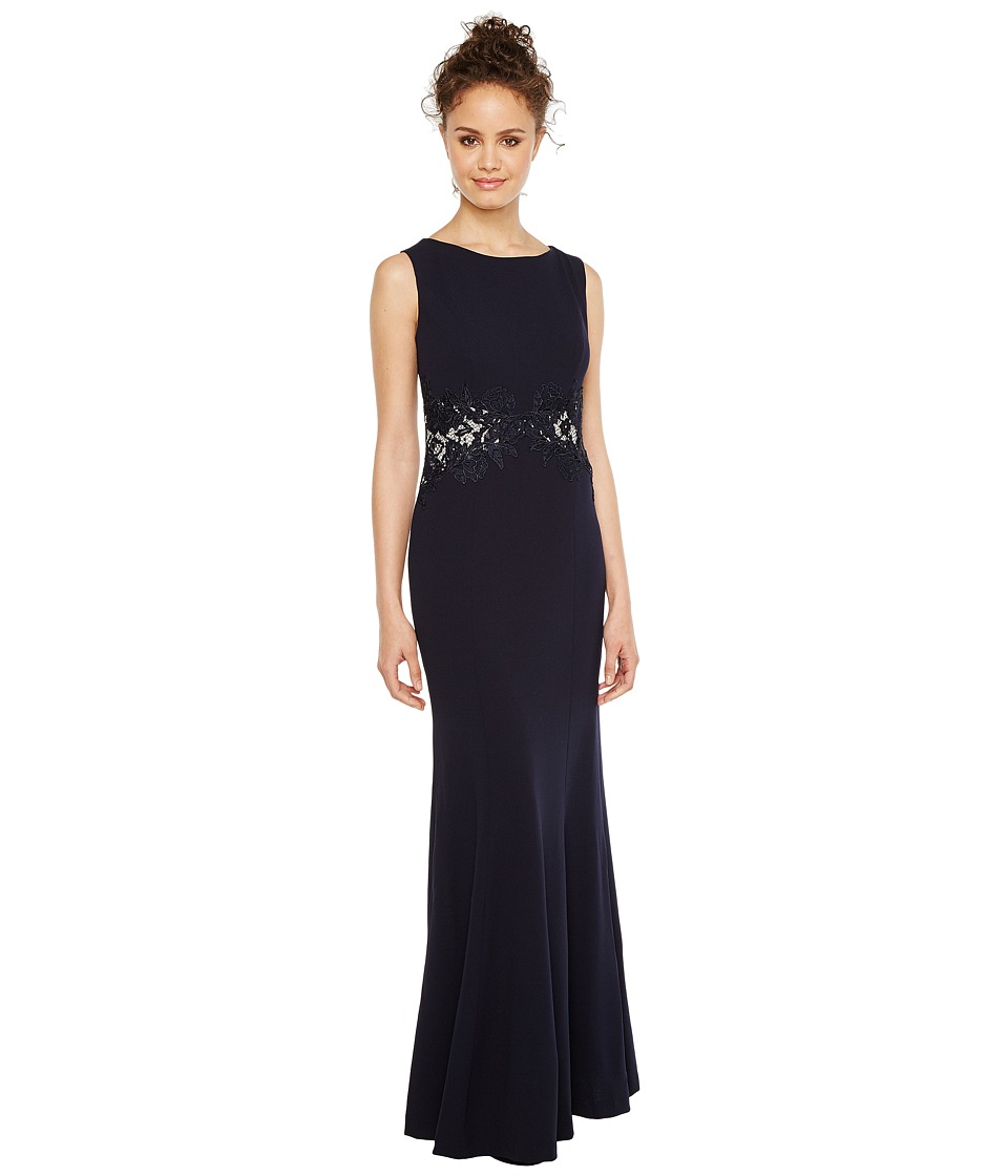 Sangria - Solid Crepe Evening Gown with Lace and Illusion Waist Detail (Navy) Women's Dress